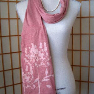pale red heather scarf with agapanthus art